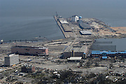 The Port of Gulf Port suffered over 250 milliion in damages but will reopen in late sept. amid the ruins along HWY 90 and the Grand Casino barge is in dry dock in the parking lot off HWY 90 after Hurricane Katrina Friday Sept 2,2005 (Photo/Suzi Altman) Hurricane Katrina Mississippi Gulf Coast aerials from first morning after the storm made land fall.Photo©Suzi Altman