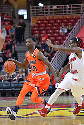 10 December 2016:  Paris Lee(1) paces Malik Pugh to the outside during an NCAA  mens basketball game between the UT Martin Skyhawks and the Illinois State Redbirds in a non-conference game at Redbird Arena, Normal IL