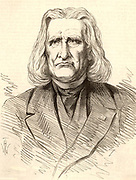 Franz (Ferencz) Liszt (1811-1886), Hungarian pianist and composer, in later life. Engraving from 'The Illustrated London News' (London, 1886).