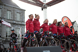 Cervélo-Bigla Cycling Team stand on the sign-on podium before the Amstel Gold Race Ladies Edition - a 121.6 km road race, between  Maastricht and Valkenburg on April 16, 2017, in Limburg, Netherlands.