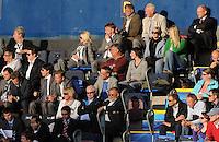 Fussball  International U 21 Europameisterschaft 2009  18.06.2009 Deutschland - Finnland  DFB Sportdirektor  Matthias Sammer  (oben re.) sitzt separat auf der Tribuene in Halmstad, Teammanager Oliver Bierhoff Bundestrainer, Joachim Loew  und Torwartbundestrainer Andreas Koepke (Mitte, li.)