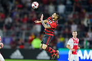 Flamengo midfielder Para (21) goes airborne for a ball during a Florida Cup match against Ajax Amsterdam at Orlando City Stadium on Jan. 10, 2019 in Orlando, Florida. <br /> <br /> ©2019 Scott A. Miller