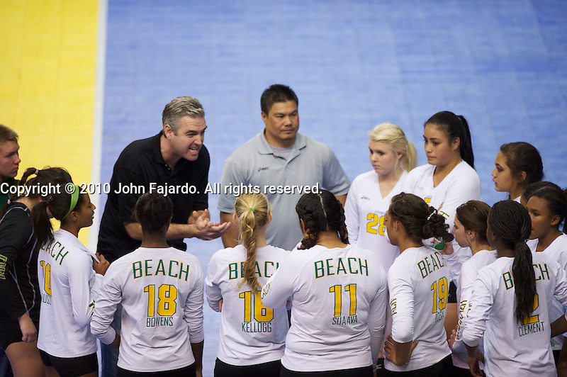 Head Coach Leland McGrath gives instruction in the 2010 CIF State Volleyball Championship Division I match against Palo Alto at the San Jose State University Event Center, San Jose, Calif., Sat. Dec. 4, 2010.