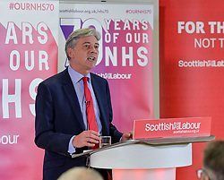 Labour leader Jeremy Corbyn MP joined Scottish Labour leader Richard Leonard at a rally in Livingston, Scotland, to mark the 70th anniversary of the founding of the NHS. They were joined by local Labour candidate Rhea Wolfson.<br /> <br /> © Dave Johnston / EEm