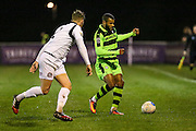 Forest Green Rovers Dan Wishart(17) \on the ball during the FA Trophy match between Truro City and Forest Green Rovers at Treyew Road, Truro, United Kingdom on 13 December 2016. Photo by Shane Healey.