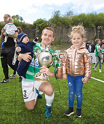 RHOSYMEDRE, WALES - Sunday, May 5, 2019: The New Saints' Chris Marriott with his family and the trophy after the FAW JD Welsh Cup Final between Connah's Quay Nomads FC and The New Saints FC at The Rock. The New Saints won 3-0. (Pic by David Rawcliffe/Propaganda)