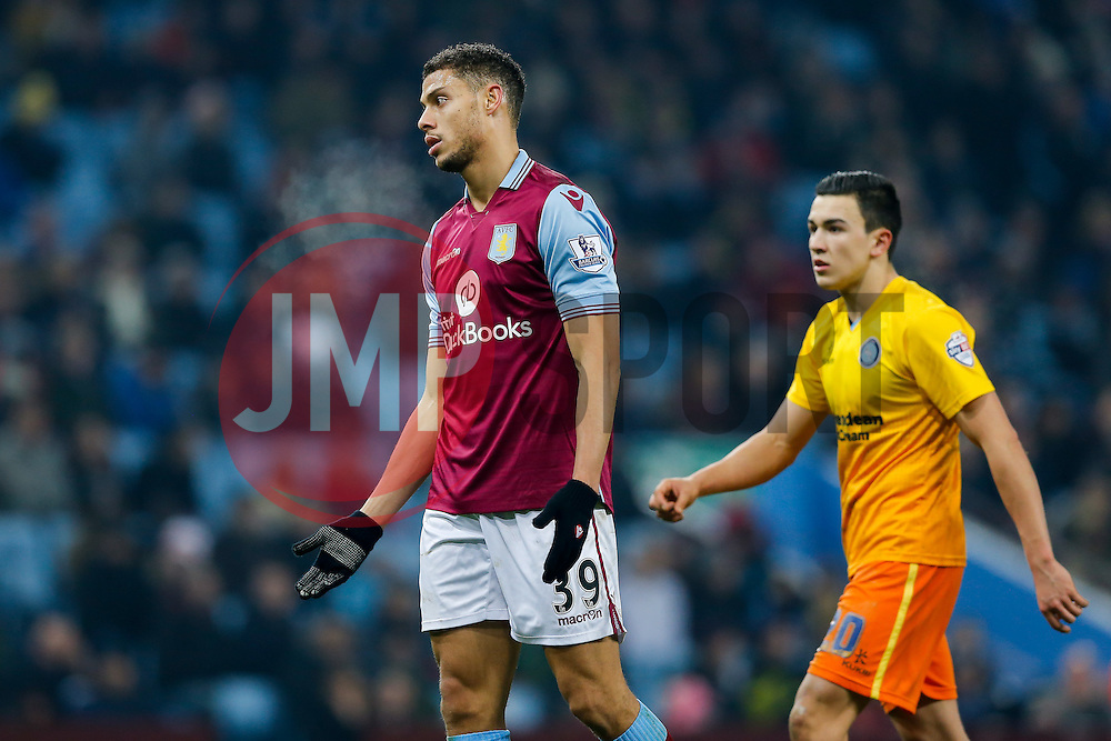 Rudy Gestede of Aston Villa looks frustrated - Mandatory byline: Rogan Thomson/JMP - 19/01/2016 - FOOTBALL - Villa Park Stadium - Birmingham, England - Aston Villa v Wycombe Wanderers - FA Cup Third Round Replay.