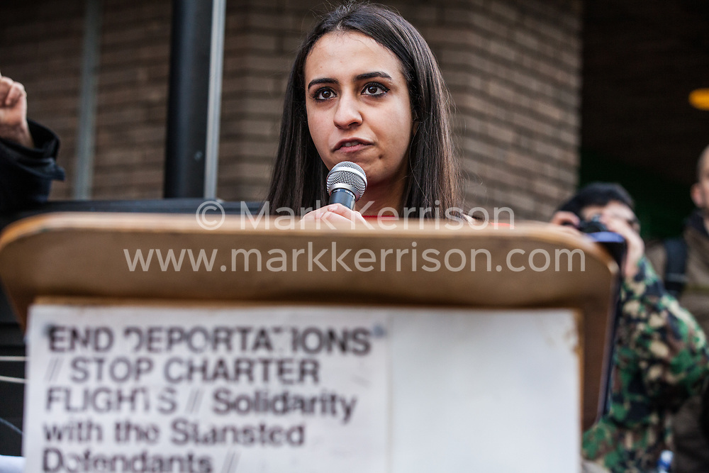 Chelmsford, UK. 6th February, 2019. Huda Ammori of Palestine Solidarity Campaign addresses activists from around the UK gathered to show solidarity with the Stansted 15 before their sentencing at Chelmsford Crown Court. The Stansted 15 were convicted on 10th December of an anti-terrorism offence under the Aviation and Maritime Security Act 1990 following non-violent direct action to try to prevent a Home Office deportation flight carrying precarious migrants to Nigeria, Ghana and Sierra Leone from taking off from Stansted airport in March 2017.