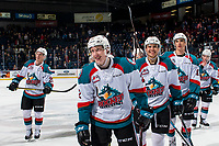 KELOWNA, CANADA - FEBRUARY 23:  The Kelowna Rockets' celebrate the win against the Kamloops Blazers on February 23, 2019 at Prospera Place in Kelowna, British Columbia, Canada.  (Photo by Marissa Baecker/Shoot the Breeze)