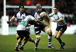 Nottingham Rugby's Pila Iongi tackles Bristol Rugby's Mitch Eadie  - Photo mandatory by-line: Joe Meredith /JMP - Mobile: 07966 386802 - 06/03/2015 - SPORT - Rugby - Bristol - Ashton Gate - Bristol Rugby v Nottingham Rugby - Greene King IPA Championship