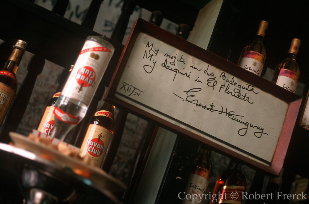 CUBA, HAVANA, HABANA VIEJA Hemingway's La Bodequita bar