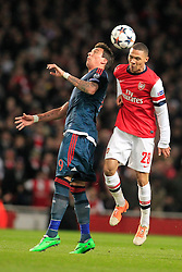 19.02.2014, Emirates Stadion, London, ESP, UEFA CL, FC Arsenal vs FC Bayern Muenchen, Achtelfinale, im Bild Mario Mandzukic (FC Bayern Muenchen #9) im Kopfballduell gegen Kieran Gibbs (Arsenal FC #28), Aktion, Action // during the UEFA Champions League Round of 16 match between FC Arsenal and FC Bayern Munich at the Emirates Stadion in London, Great Britain on 2014/02/19. EXPA Pictures © 2014, PhotoCredit: EXPA/ Eibner-Pressefoto/ Schueler<br /> <br /> *****ATTENTION - OUT of GER*****