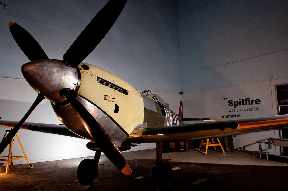 A spitfire aeroplane at the potteries museum in stoke-on-trent