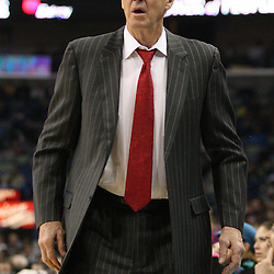 Feb 17, 2010; New Orleans, LA, USA; Utah Jazz head coach Jerry Sloan reacts to a play against the New Orleans Hornets during the first quarter at the New Orleans Arena. Mandatory Credit: Derick E. Hingle-US PRESSWIRE