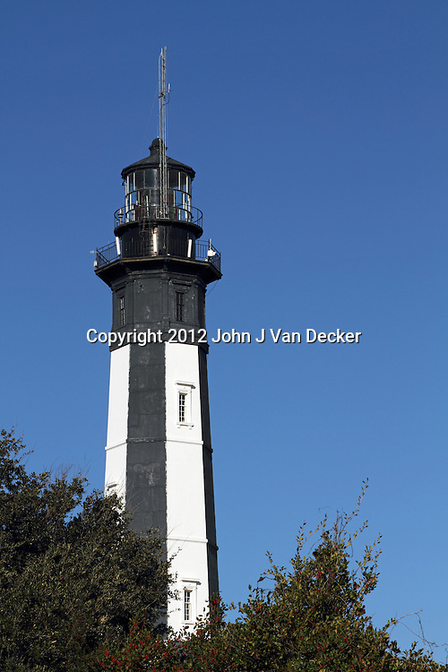 Closeup of the Cape Henry lighthouse. One of the tallest cast-iron lighthouses in the United States which sits at the entrance to Chesapeake Bay on the Atlantic Ocean in Virginia Beach, Va, USA