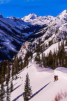 The Maroon Bells, Snowmass (Aspen) ski resort, Colorado USA.