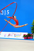 Rizatdinova Anna during qualifying at ribbon in Pesaro World Cup at Adriatic Arena on April 11, 2015. Anna was born July 16, 1993 in Simferopol, she is a Ukrainian individual rhythmic gymnast.