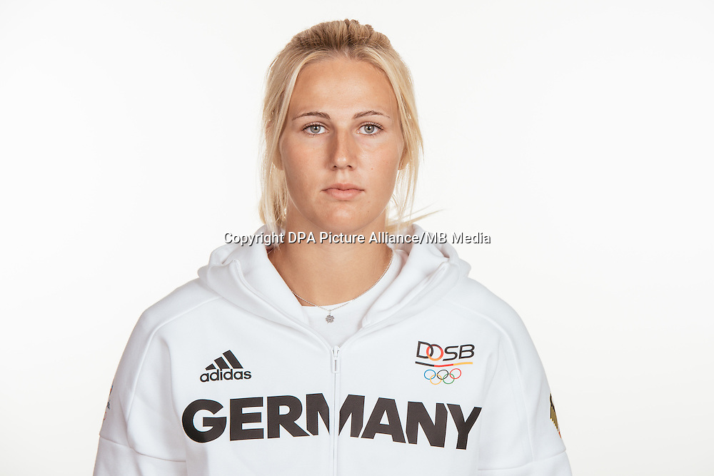 Christin Hussong poses at a photocall during the preparations for the Olympic Games in Rio at the Emmich Cambrai Barracks in Hanover, Germany, taken on 20/07/16 | usage worldwide