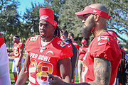 Jan 25, 2019; Kissimmee, FL, USA; Los Angeles Chargers running back Melvin Gordon lll (28) and Tampa Bay Buccaneers wide receiver Mike Evans (13) after the NFC team photo for the 2019 Pro Bowl at ESPN Wide World of Sports Complex. (Kim Hukari/Image of Sport)