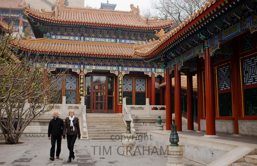 Wesern tourists at the Buddhist Incense Pavillion at The Summer Palace, Beijing, China