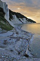 View from the landslide at Store Taler at the Jydeleje Fald and the Slotsgavlene - Møns Klint at sunset, Denmark