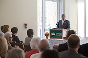 President McDavis speaks at the new residential hall grand opening on Sat. August 29, 2015.