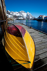Fishing boat in harbour at Henningsvaer on Lofoten Islands in Norway