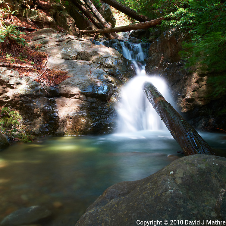 Redwood Gulch Waterfall, HDR Exercise. Initial Image taken with a Nikon D3x and 24 mm f/3.5 PC-E lens Singh-Ray filters (ISO 100, 24 mm, f/16, 10 sec). Raw image processed with Capture One Pro..