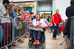 © Licensed to London News Pictures. 20/09/2016. London, UK. Team GB Paralympian Abbie Hunnisett arrives at terminal 5 of London Heathrow Airport after flying on British Airways flight BA2016. Team GB finished second in the Paralympics medals table with 147 medals beating their total of 120 at London 2012. Photo credit : Tom Nicholson/LNP