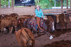 September 23, 2017 - Minshall Farm Cutting 5, held at Minshall Farms, Hillsburgh Ontario. The event was put on by the Ontario Cutting Horse Association. Riding in the $25,000 Noivce Horse Class is Laurie Reed on Smooth Alley Cat owned by the rider.