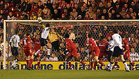 Photo. Glyn Thomas.<br /> Middlesbrough v Tottenham Hotspur.<br /> FA Barclaycard Premiership.<br /> Riverside Stadium, Middlesbrough. 09/03/2004.<br /> Middlesbrough's keeper Mark Schwarzer brilliantly Spurs' best chance for a first half goal, a shot from Darren Anderton (R).