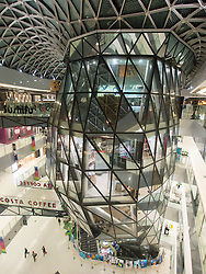 Interior of Raffles City shopping mall in Beijing China