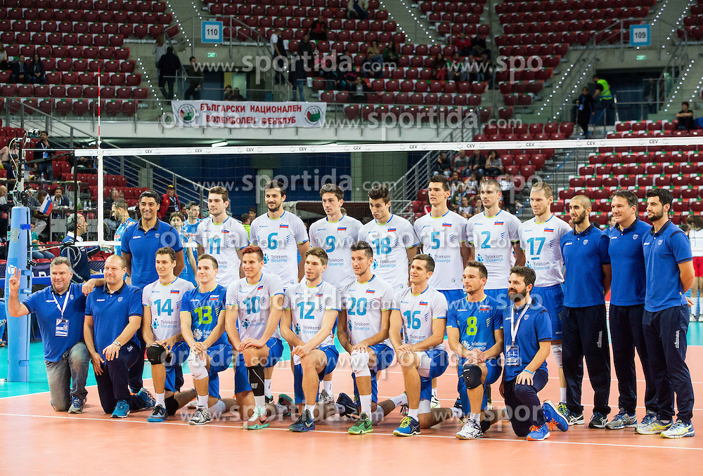 Team Slovenia prior to the volleyball match between National teams of Slovenia and Italy in 1st Semifinal of 2015 CEV Volleyball European Championship - Men, on October 17, 2015 in Arena Armeec, Sofia, Bulgaria. Photo by Vid Ponikvar / Sportida