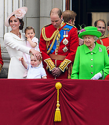 © Licensed to London News Pictures. 11/06/2016. London, UK. CATHERINE, DUCHESS OF CAMBRIDGE, PRINCESS CHARLOTTE, PRINCE GEORGE, PRINCE WILLIAM and QUEEN ELIZABETH II  on the balcony of Buckingham Palace, during the Trooping The Colour ceremony in London. This years event is part of a weekend of celebration to mark the 90th birthday of Queen Elizabeth II, who is Britain's longest reigning monarch. Photo credit: Ben Cawthra/LNP