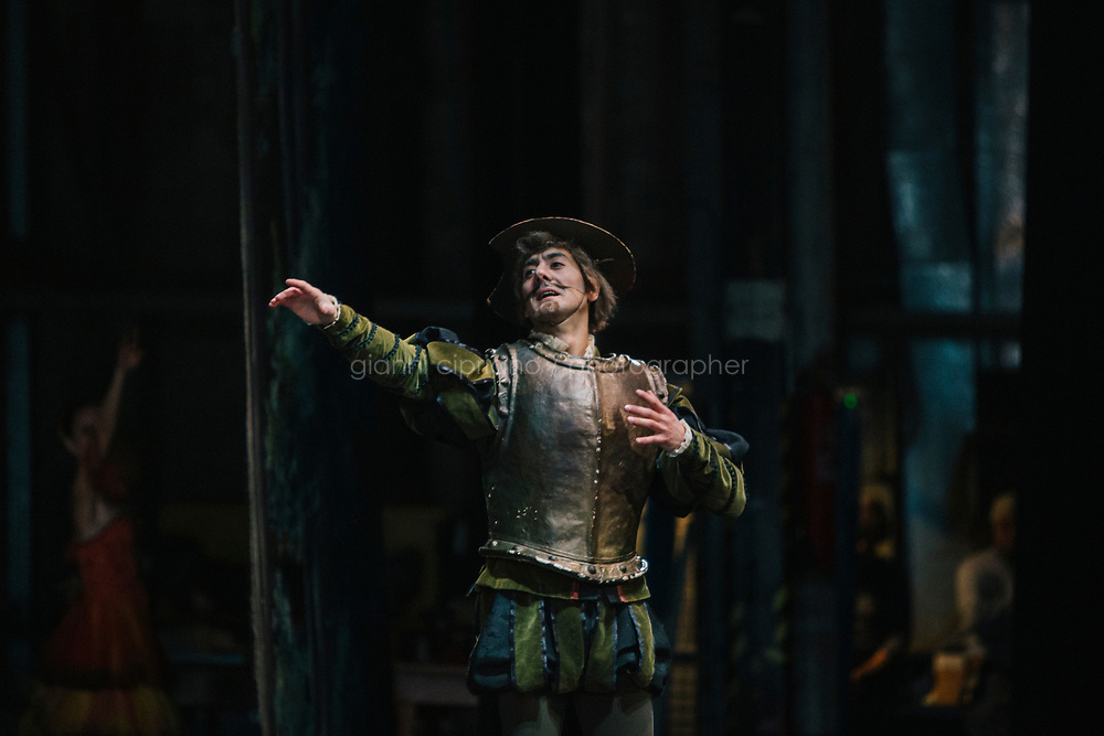 PALERMO, ITALY - 18 FEBRUARY 2018: Benedetto Oliva, who interprets the role of Don Quixote in &quot;Don Quixote&quot;, performs during the dress rehearsal at the Teatro Massimo in Palermo, Italy, on February 18th 2018.<br /> <br /> The Teatro Massimo Vittorio Emanuele is an opera house and opera company located  in Palermo, Sicily. It was dedicated to King Victor Emanuel II. It is the biggest in Italy, and one of the largest of Europe (the third after the Op&eacute;ra National de Paris and the K. K. Hof-Opernhaus in Vienna), renowned for its perfect acoustics. It was inaugurated in 1897.