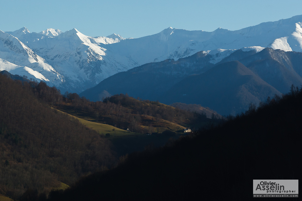 Valley landscape view near Alos, Ariege, Pyrenees, France.