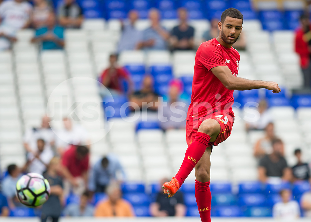 Kevin Stewart of Liverpool warms up before the Premier League match between Tottenham Hotspur and Liverpool at White Hart Lane, London, England on 27 August 2016. Photo by Vince  Mignott.