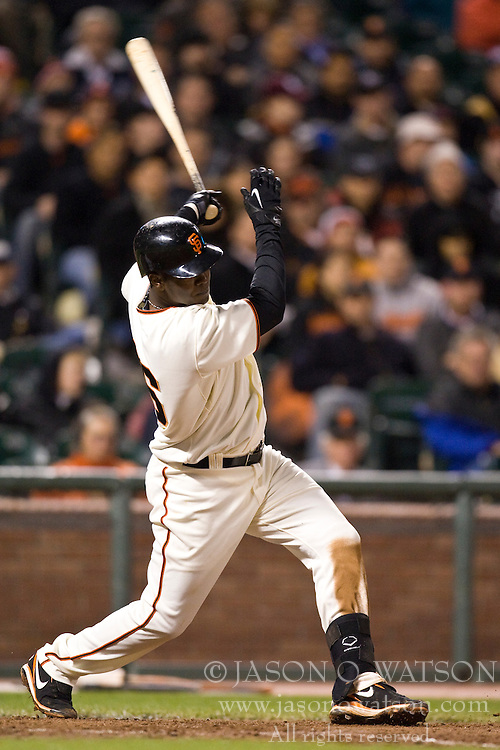 April 27, 2010; San Francisco, CA, USA;  San Francisco Giants shortstop Edgar Renteria (16) hits an RBI double against the Philadelphia Phillies during the seventh inning at AT&T Park.  San Francisco defeated Philadelphia 6-2.