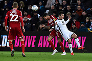 Marvin Johnson (21) of Middlesbrough battles for possession during the EFL Sky Bet Championship match between Swansea City and Middlesbrough at the Liberty Stadium, Swansea, Wales on 14 December 2019.