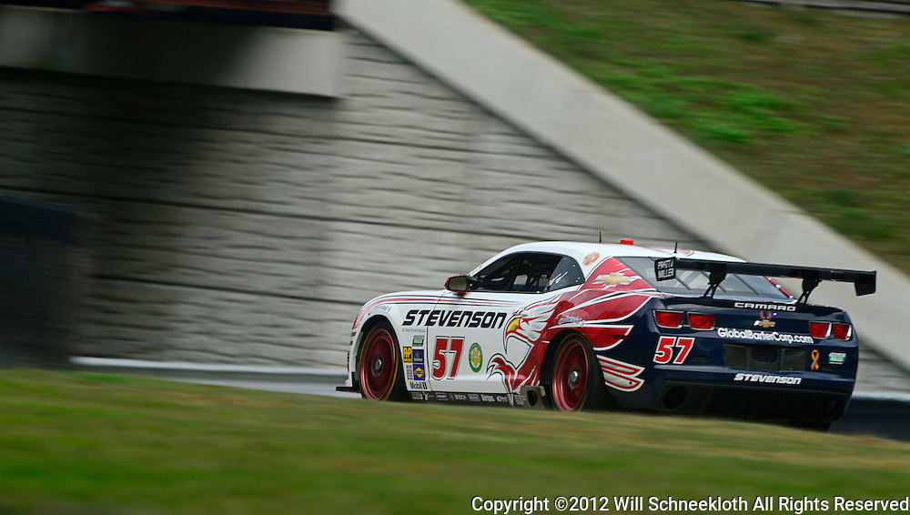 The Stevenson Motorsports Chevrolet Camaro driven by Robin Liddell of England and John Edwards of the United States during the Grand-Am Rolex Sports Car Series Championship weekend at Lime Rock Park in Lakeville, Conn.