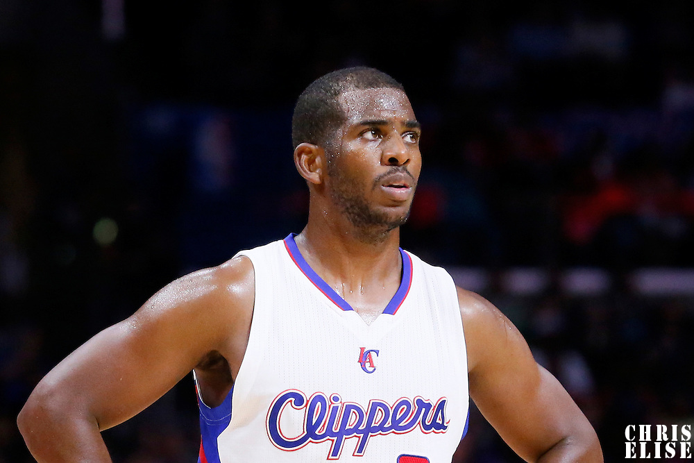 07 October 2014: Los Angeles Clippers guard Chris Paul (3) rests during the Golden State Warriors 112-94 victory over the Los Angeles Clipper, in a preseason game, at the Staples Center, Los Angeles, California, USA.