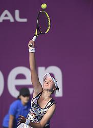 DOHA, Feb. 10, 2018  Barbora Krejcikova of the Czech Republic serves during the qualifying match against Duan Yingying of China at the 2018 WTA Qatar Open in Doha, Qatar, on Feb. 10, 2018. Duan Yingying won 2-0. (Credit Image: © Nikku/Xinhua via ZUMA Wire)