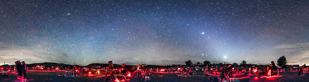 A 360&deg; panorama of the upper field of the Texas Star Party at the Prde Ranch near Fort Davis, TX, May 13, 2015, taken once the sky got astronomically dark. The panorama shows the field of telescopes and observers enjoying a night of deep-sky viewing and imaging. Venus is the bright object at right of centre and Jupiter is above it. The Zodiacal Light stretches up from the horizon and continues left across the sky in the Zodiacal Band to brighten in the east (left of centre) as the Gegeneschein.<br /> <br /> I shot this with a 14mm lens, oriented vertically, with each segment 60 seconds at f/2.8 and with the Canon 5D MkII at ISO 3200. The panorama is made of 8 segements at 45&deg; spacings. The segments were stitched with PTGui software.