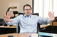 03 JUL 2019, BERLIN/GERMANY:<br /> Andreas Scheuer, CSU, Bundesminister fuer Verkehr und digitale Infrastruktur, waehrend einem Interview, in seinem Buero, Bundesministerium fuer Verkehr und digitale Infrastruktur<br /> IMAGE: 20190703-01-044