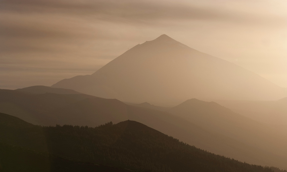 A general view of Teide Volcano under cloud of dust from Sahara, Tenerife, Canary Island, Spain.
