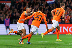 10-10-2019 NED: Netherlands - Northern Ireland, Rotterdam<br /> UEFA Qualifying round ­Group C match between Netherlands and Northern Ireland at De Kuip in Rotterdam / Memphis Depay #10 of the Netherlands scores 1-1, <br /> assist Donyell Malen #20 of the Netherlands