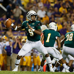 Sep 8, 2018; Baton Rouge, LA, USA; Southeastern Louisiana Lions quarterback Chason Virgil (9) throws against the LSU Tigers during the second half of a game at Tiger Stadium. LSU defeated Southeastern 31-0. Mandatory Credit: Derick E. Hingle-USA TODAY Sports