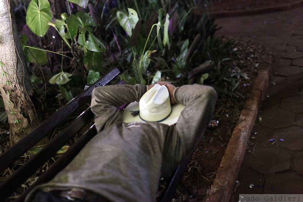A tired cowboy takes a rest during a break in the rodeo in Barretos, state of Sao Paulo, Brazil, Sunday, Aug. 25, 2012.  Brazil is on a quick path to become a global power. Rising economy, big infrastructure projects, an emerging and eager consuming middle class and the booming national industry are the evidences and consequences of the wealth in the southern nation. But the often hidden source of all this wealth falls far from the luring Rio beaches or the Kolkata-New York mix that Sao Paulo is. Behind texan hats and a similar attitude the countrymen display their power through a myriad of projects, festivals and behavior visually analyzed here.