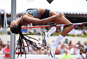 Nafi Thiam aka Nafissatou Thiam (BEL) clears a heptathlon world record 6-7 1/2 (2.02m) in the high jump during the DecaStar meeting, Friday, June 22, 2019, in Talence, France. Thiam won with 6,819 points. (Jiro Mochizuki/Image of Sport via AP)