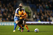 Wolverhampton Wanderers striker Nouha Dicko (9) and Brighton & Hove Albion defender Shane Duffy (22) during the EFL Sky Bet Championship match between Brighton and Hove Albion and Wolverhampton Wanderers at the American Express Community Stadium, Brighton and Hove, England on 18 October 2016.